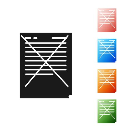 Black Exam paper with incorrect answers survey icon isolated on white background. Bad mark of test results, concept of unsuccessful report. Set icons colorful. Vector Illustration