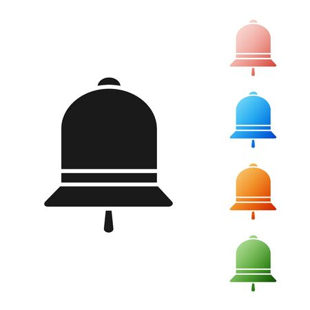 Black Ringing bell icon isolated on white background. Alarm symbol, service bell, handbell sign, notification symbol. Set icons colorful. Vector Illustration