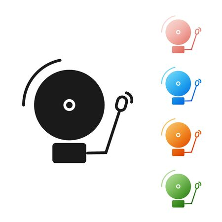 Black Ringing alarm bell icon isolated on white background. Alarm symbol, service bell, handbell sign, notification symbol. Set icons colorful. Vector Illustration