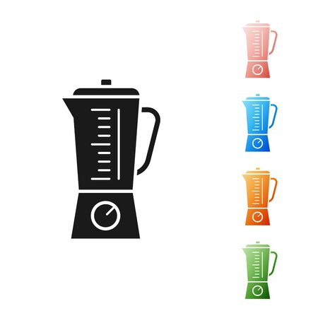 Black Blender icon isolated on white background. Kitchen electric stationary blender with bowl. Cooking smoothies, cocktail or juice. Set icons colorful. Vector Illustration Illustration