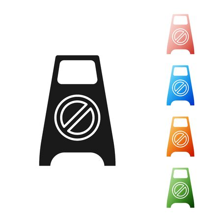 Black Wet floor and cleaning in progress icon isolated on white background. Cleaning service concept. Set icons colorful. Vector Illustration