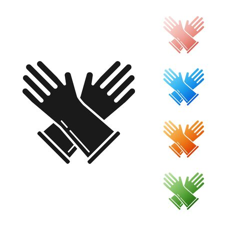Black Rubber gloves icon isolated on white background. Latex hand protection sign. Housework cleaning equipment symbol. Set icons colorful. Vector Illustration Фото со стока - 131390069