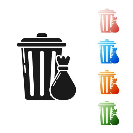 Black Trash can and garbage bag icon isolated on white background. Garbage bin sign. Recycle basket icon. Office trash icon. Set icons colorful. Vector Illustration