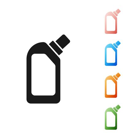 Black Plastic bottle for liquid laundry detergent, bleach, dishwashing liquid or another cleaning agent icon isolated on white background. Set icons colorful. Vector Illustration