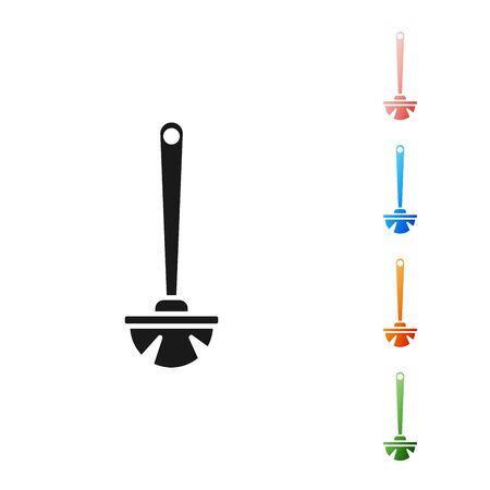 Black Toilet brush icon isolated on white background. Set icons colorful. Vector Illustration