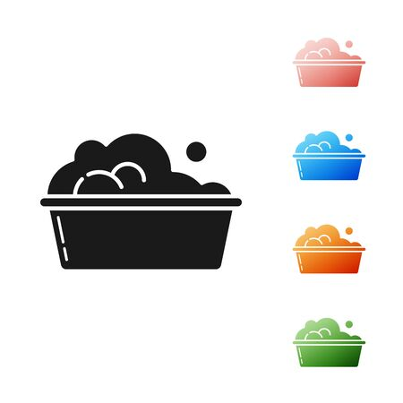 Black Plastic basin with soap suds icon isolated on white background. Bowl with water. Washing clothes, cleaning equipment. Set icons colorful. Vector Illustration 일러스트