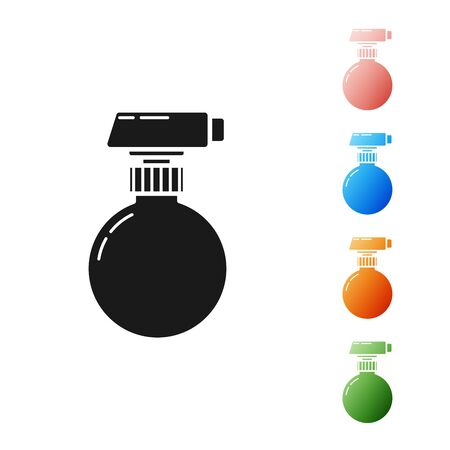 Black Cleaning spray bottle with detergent liquid icon isolated on white background. Set icons colorful. Vector Illustration Çizim