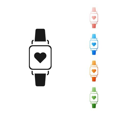 Black Smart watch showing heart beat rate icon isolated on white background. Fitness App concept. Set icons colorful. Vector Illustration Фото со стока - 131390162
