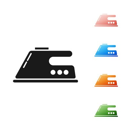 Black Electric iron icon isolated on white background. Steam iron. Set icons colorful. Vector Illustration Ilustração
