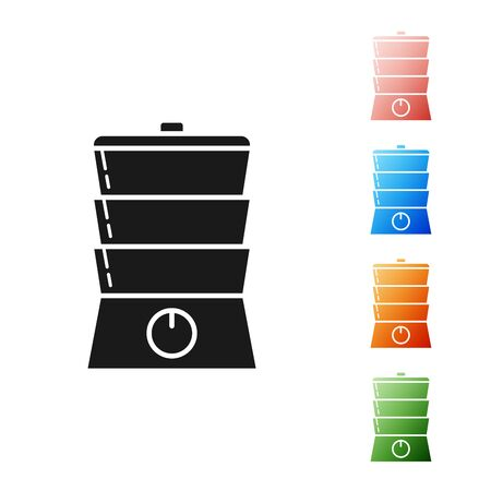 Black Double boiler icon isolated on white background. Set icons colorful. Vector Illustration