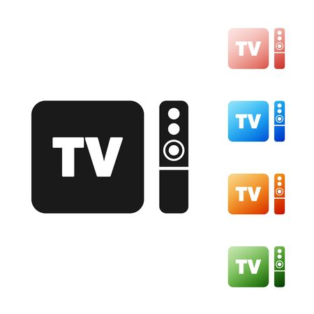 Black Multimedia and TV box receiver and player with remote controller icon isolated on white background. Set icons colorful. Vector Illustration