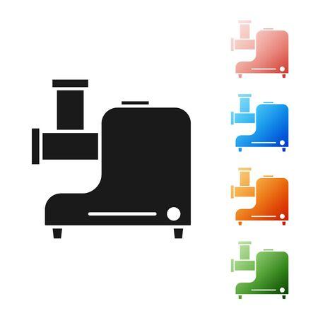 Black Kitchen meat grinder icon isolated on white background. Set icons colorful. Vector Illustration Illustration