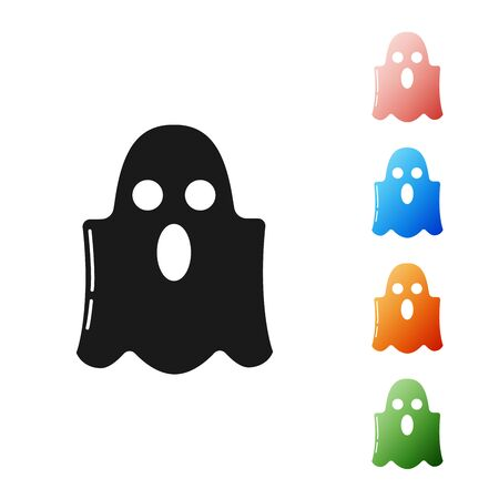 Black Ghost icon isolated on white background. Happy Halloween party. Set icons colorful. Vector Illustration Ilustrace