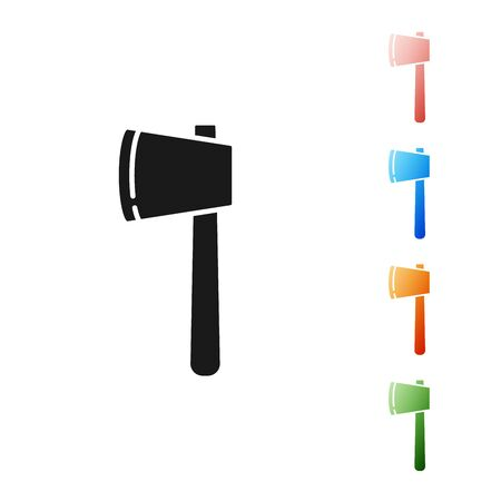 Black Wooden axe icon isolated on white background. Lumberjack axe. Happy Halloween party. Set icons colorful. Vector Illustration