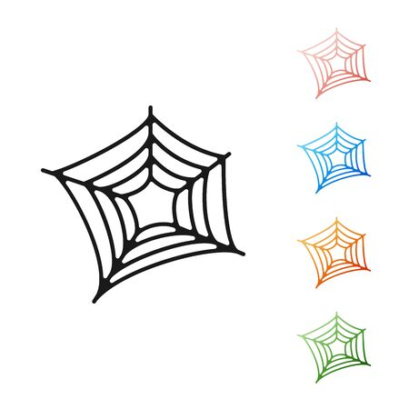 Black Spider web icon isolated on white background. Cobweb sign. Happy Halloween party. Set icons colorful. Vector Illustration