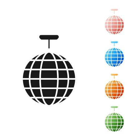 Black Disco ball icon isolated on white background. Set icons colorful. Vector Illustration