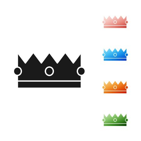 Black Crown icon isolated on white background. Set icons colorful. Vector Illustration 일러스트
