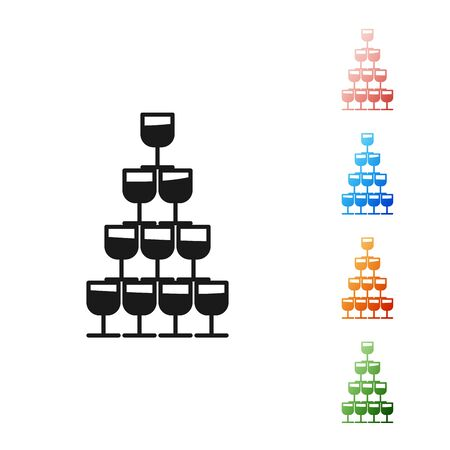 Black Wine glasses stacked in a pyramid tower icon isolated on white background. Wineglass sign. Set icons colorful. Vector Illustration