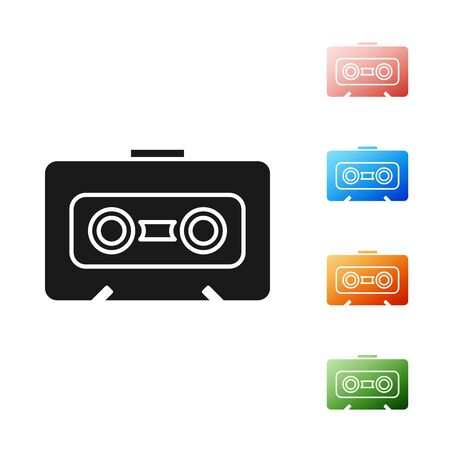 Black Retro audio cassette tape icon isolated on white background. Set icons colorful. Vector Illustration