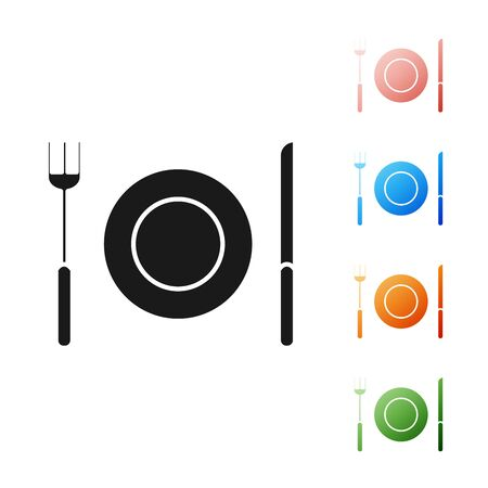Black Plate, fork and knife icon isolated on white background. Cutlery symbol. Restaurant sign. Set icons colorful. Vector Illustration