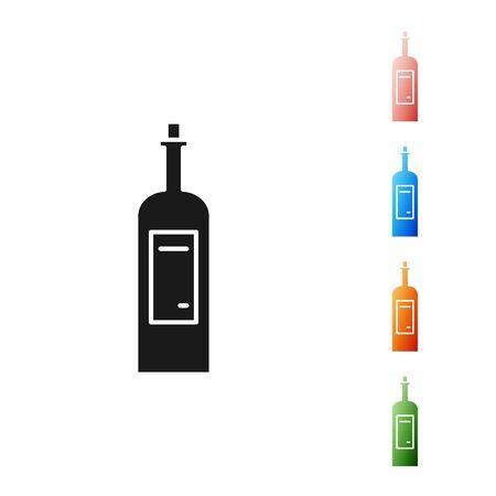 Black Bottle of wine icon isolated on white background. Set icons colorful. Vector Illustration