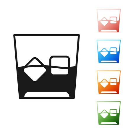 Black Glass of whiskey and ice cubes icon isolated on white background. Set icons colorful. Vector Illustration