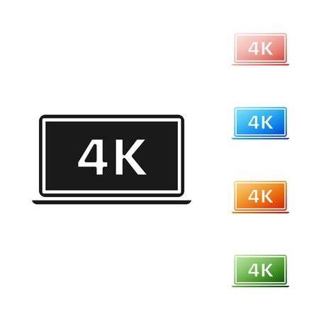 Black Laptop screen with 4k video technology icon isolated on white background. Set icons colorful. Vector Illustration