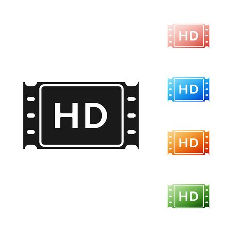 Black 4k movie, tape, frame icon isolated on white background. Set icons colorful. Vector Illustration