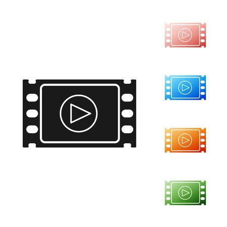Black Play Video icon isolated on white background. Film strip with play sign. Set icons colorful. Vector Illustration