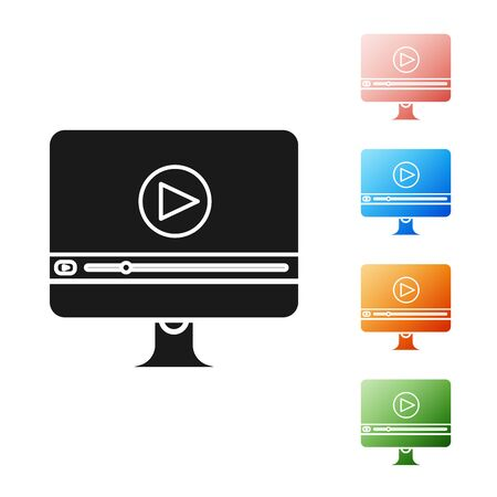 Black Online play video icon isolated on white background. Computer monitor and film strip with play sign. Set icons colorful. Vector Illustration