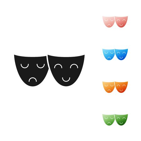 Black Comedy and tragedy theatrical masks icon isolated on white background. Set icons colorful. Vector Illustration