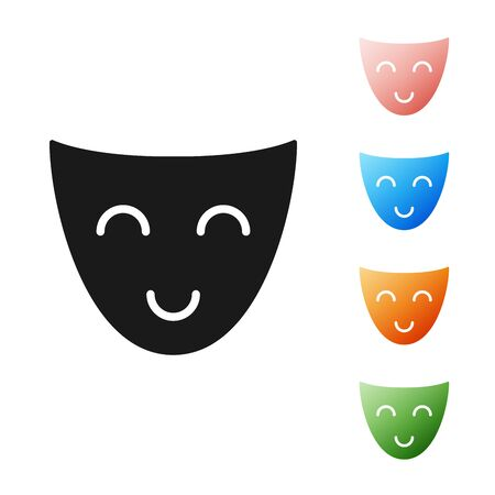 Black Comedy theatrical mask icon isolated on white background. Set icons colorful. Vector Illustration