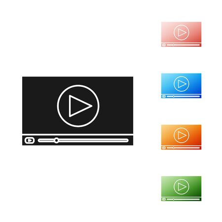 Black Online play video icon isolated on white background. Film strip with play sign. Set icons colorful. Vector Illustration 일러스트