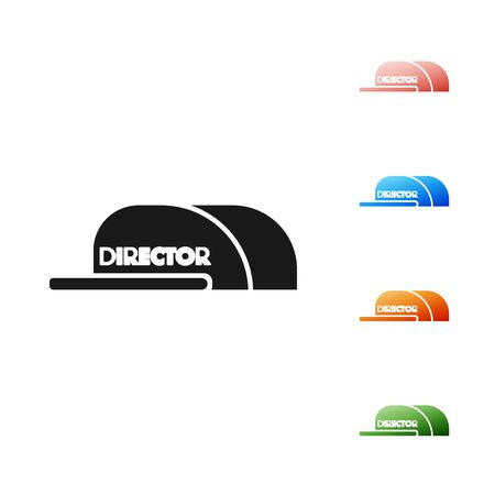 Black Cap with inscription director icon isolated on white background. Set icons colorful. Vector Illustration Иллюстрация