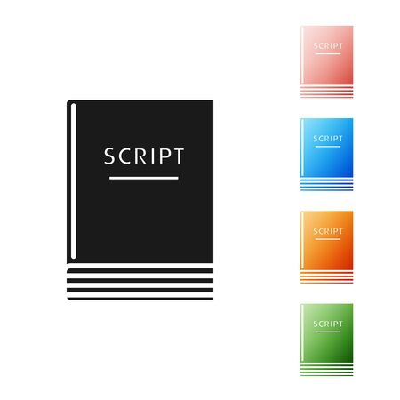 Black Scenario icon isolated on white background. Script reading concept for art project, films, theaters. Set icons colorful. Vector Illustration Ilustração