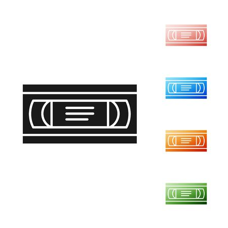 Black VHS video cassette tape icon isolated on white background. Set icons colorful. Vector Illustration