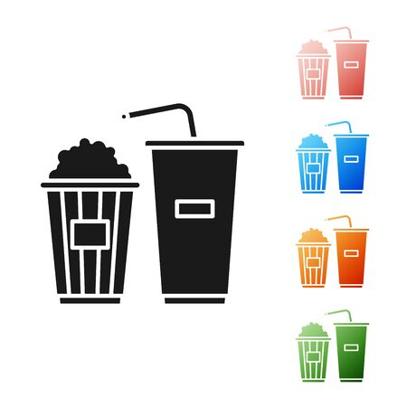 Black Popcorn in cardboard box and paper glass with drinking straw and water icon isolated on white background. Soda drink glass. Set icons colorful. Vector Illustration