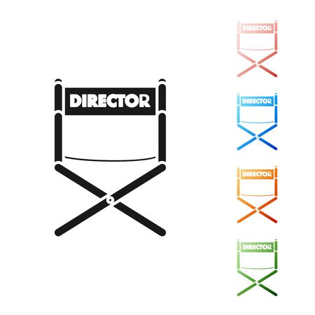 Black Director movie chair icon isolated on white background. Film industry. Set icons colorful. Vector Illustration