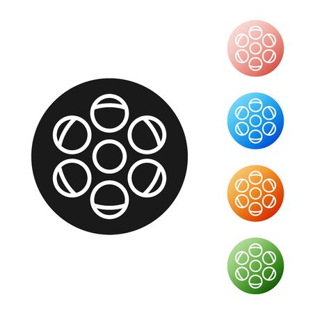 Black Film reel icon isolated on white background. Set icons colorful. Vector Illustration