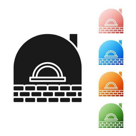 Black Brick stove icon isolated on white background. Brick fireplace, masonry stove, stone oven icon.Set icons colorful. Vector Illustration Illustration