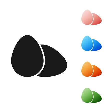 Black Chicken egg icon isolated on white background. Set icons colorful. Vector Illustration