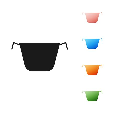Black Cooking pot icon isolated on white background. Boil or stew food symbol. Set icons colorful. Vector Illustration Illustration