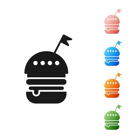 Black Burger icon isolated on white background. Hamburger icon. Cheeseburger sandwich sign. Fast food menu. Set icons colorful. Vector Illustration Stock Illustratie
