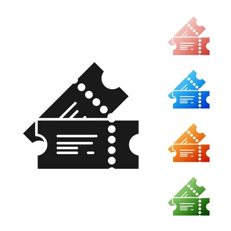 Black Cinema ticket icon isolated on white background. Set icons colorful. Vector Illustration Ilustracja