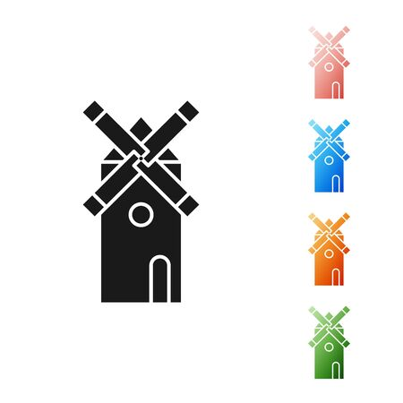 Black Windmill icon isolated on white background. Set icons colorful. Vector Illustration