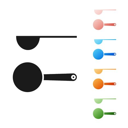 Black Measuring spoon icon isolated on white background. Set icons colorful. Vector Illustration Çizim
