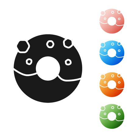 Black Donut with sweet glaze icon isolated on white background. Set icons colorful. Vector Illustration