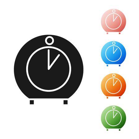 Black Kitchen timer icon isolated on white background. Cooking utensil. Set icons colorful. Vector Illustration Ilustração