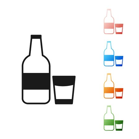 Black Closed glass bottle with milk and glass icon isolated on white background. Set icons colorful. Vector Illustration Ilustração