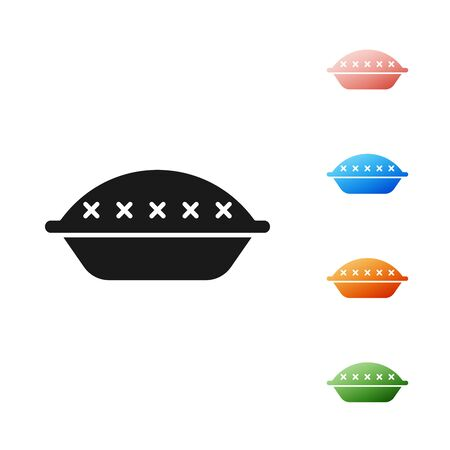 Black Homemade pie icon isolated on white background. Set icons colorful. Vector Illustration